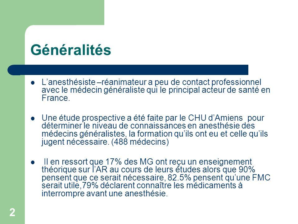 2 Généralités Lanesthésiste –réanimateur a peu de contact professionnel avec le médecin généraliste qui le principal acteur de santé en France.