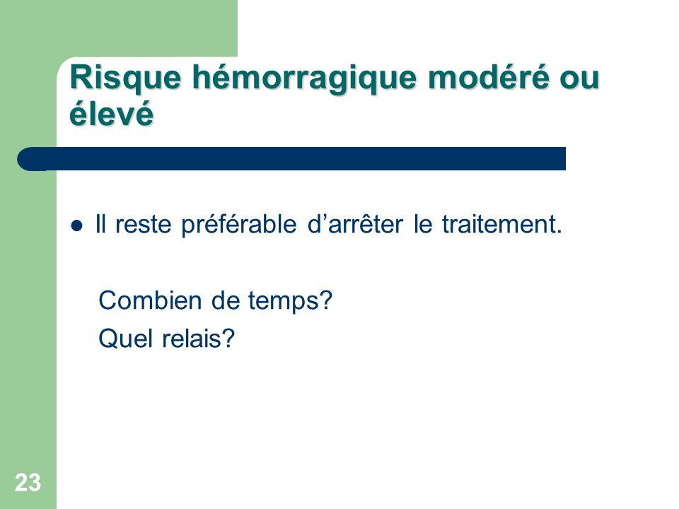 23 Risque hémorragique modéré ou élevé Il reste préférable darrêter le traitement.