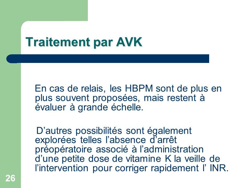 26 En cas de relais, les HBPM sont de plus en plus souvent proposées, mais restent à évaluer à grande échelle.