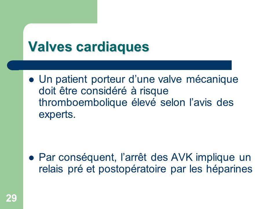29 Valves cardiaques Un patient porteur dune valve mécanique doit être considéré à risque thromboembolique élevé selon lavis des experts.