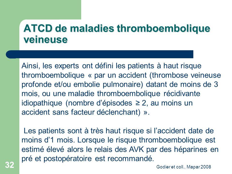 Godier et coll., Mapar 2008 32 Ainsi, les experts ont défini les patients à haut risque thromboembolique « par un accident (thrombose veineuse profonde et/ou embolie pulmonaire) datant de moins de 3 mois, ou une maladie thromboembolique récidivante idiopathique (nombre dépisodes 2, au moins un accident sans facteur déclenchant) ».