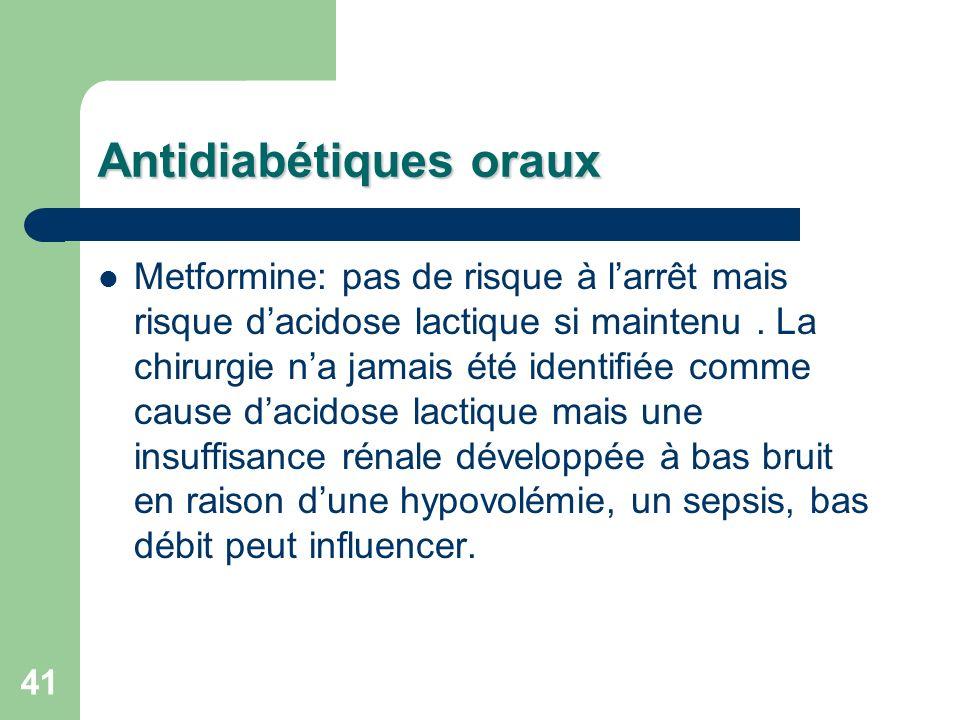 41 Antidiabétiques oraux Metformine: pas de risque à larrêt mais risque dacidose lactique si maintenu.