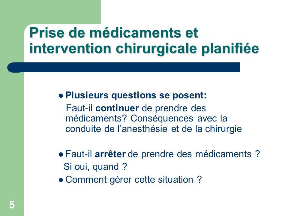 5 Prise de médicaments et intervention chirurgicale planifiée Plusieurs questions se posent: Faut-il continuer de prendre des médicaments.