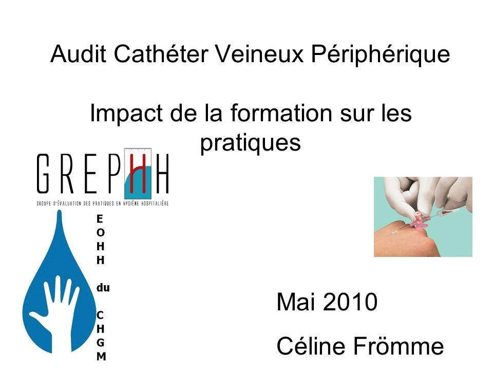Laudit est réalisé post formation cathéter Utilisation du kit proposé par le CCLIN Sud Est
