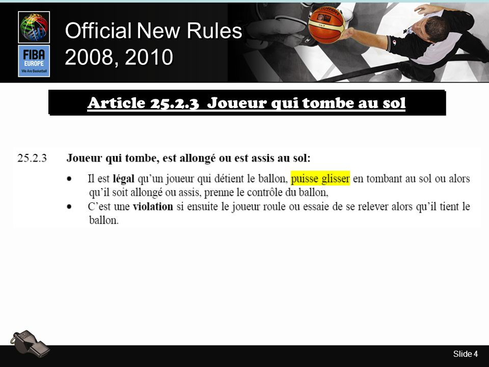 Slide 5 Official New Rules 2008, 2010 Official New Rules 2008, 2010 Movie Article 25.2.3 Joueur qui tombe au sol Situation: Le joueur 15A attrape le ballon et tombe.