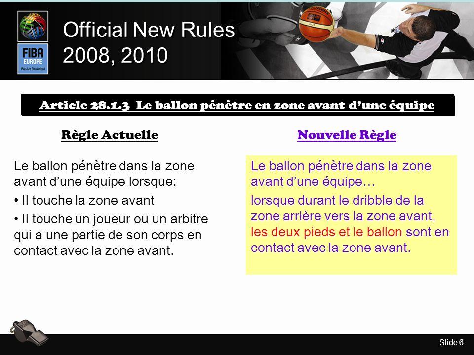 Slide 6 Official New Rules 2008, 2010 Official New Rules 2008, 2010 Article 28.1.3 Le ballon pénètre en zone avant dune équipe Règle Actuelle Nouvelle