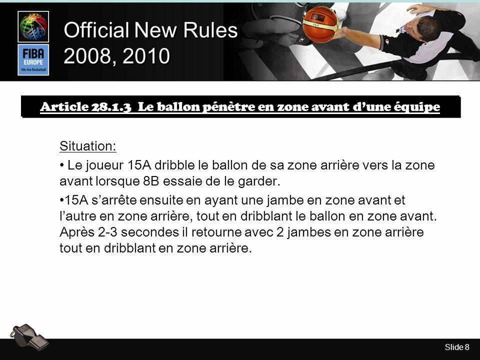 Slide 8 Official New Rules 2008, 2010 Official New Rules 2008, 2010 Article 28.1.3 Le ballon pénètre en zone avant dune équipe Situation: Le joueur 15A dribble le ballon de sa zone arrière vers la zone avant lorsque 8B essaie de le garder.