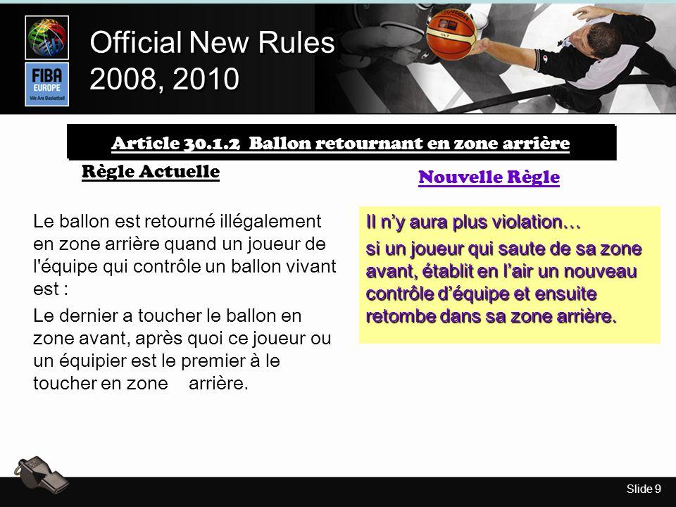 Slide 9 Official New Rules 2008, 2010 Official New Rules 2008, 2010 Article 30.1.2 Ballon retournant en zone arrière Règle Actuelle Nouvelle Règle Le ballon est retourné illégalement en zone arrière quand un joueur de l équipe qui contrôle un ballon vivant est : Le dernier a toucher le ballon en zone avant, après quoi ce joueur ou un équipier est le premier à le toucher en zone arrière.