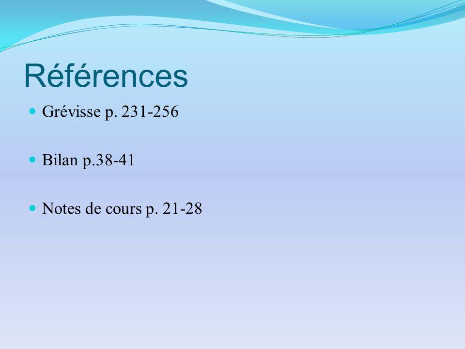Références Grévisse p. 231-256 Bilan p.38-41 Notes de cours p. 21-28
