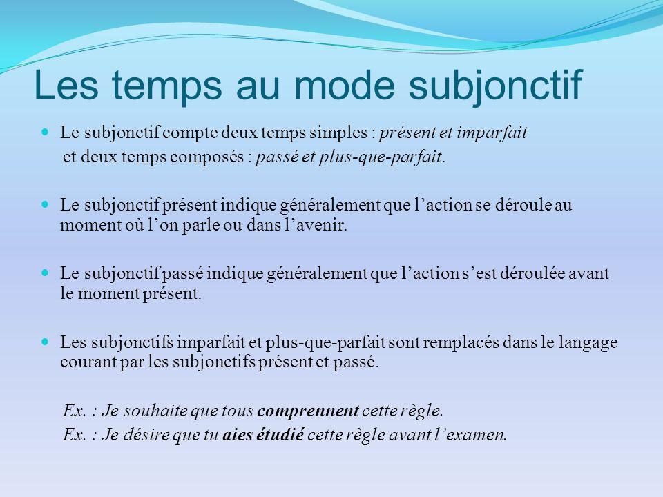 Les temps au mode subjonctif Le subjonctif compte deux temps simples : présent et imparfait et deux temps composés : passé et plus-que-parfait. Le sub