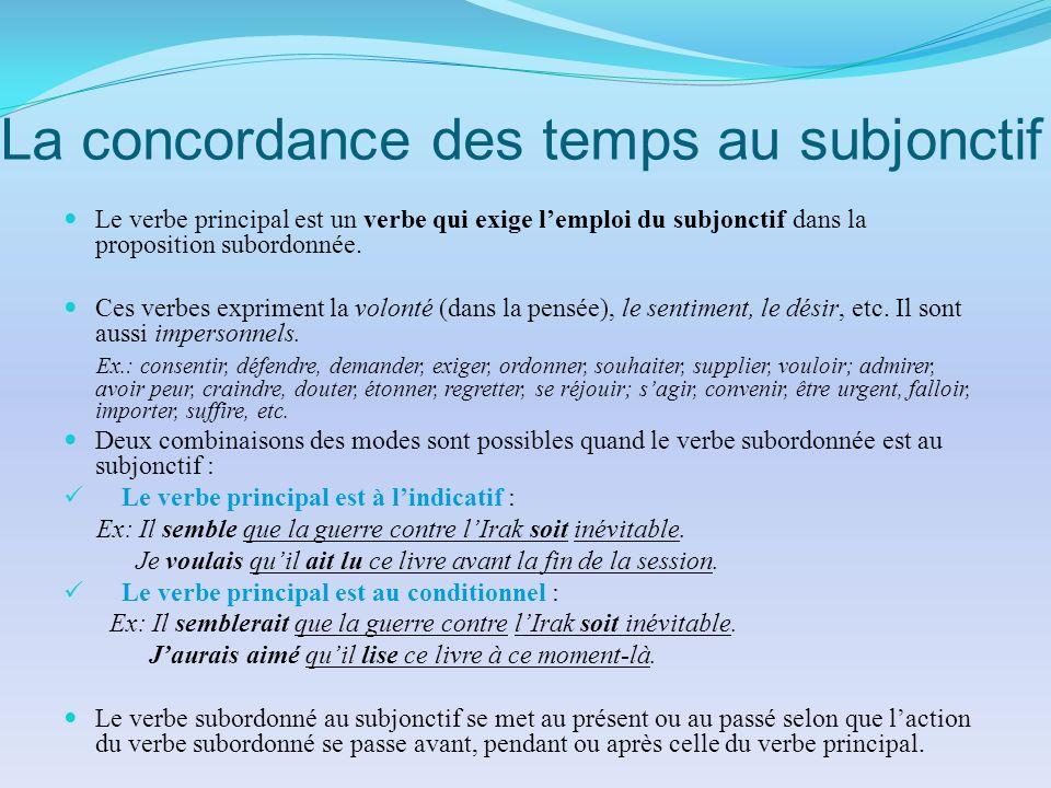 La concordance des temps au subjonctif Le verbe principal est un verbe qui exige lemploi du subjonctif dans la proposition subordonnée. Ces verbes exp