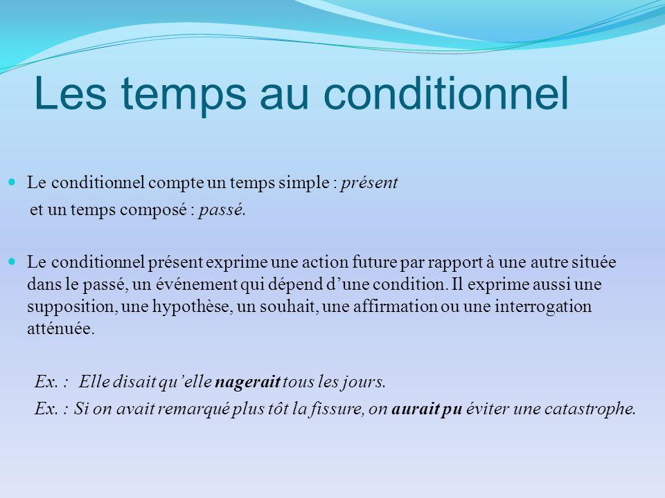 Les temps au conditionnel Le conditionnel compte un temps simple : présent et un temps composé : passé. Le conditionnel présent exprime une action fut