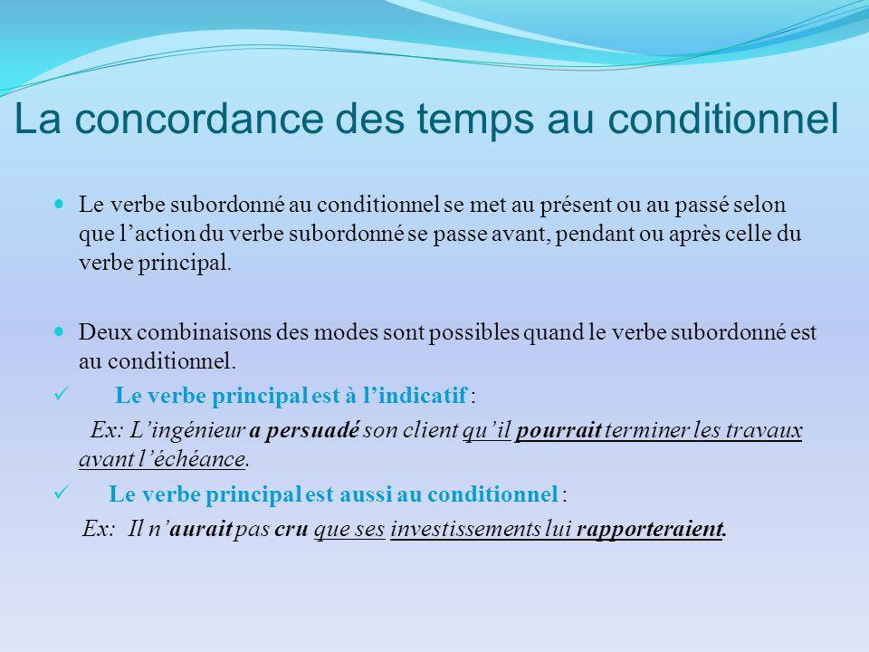 La concordance des temps au conditionnel Le verbe subordonné au conditionnel se met au présent ou au passé selon que laction du verbe subordonné se pa