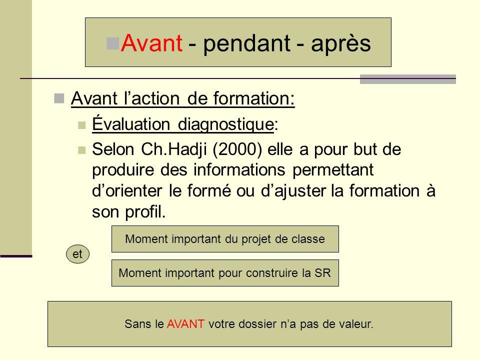 Avant laction de formation: Évaluation diagnostique: Selon Ch.Hadji (2000) elle a pour but de produire des informations permettant dorienter le formé
