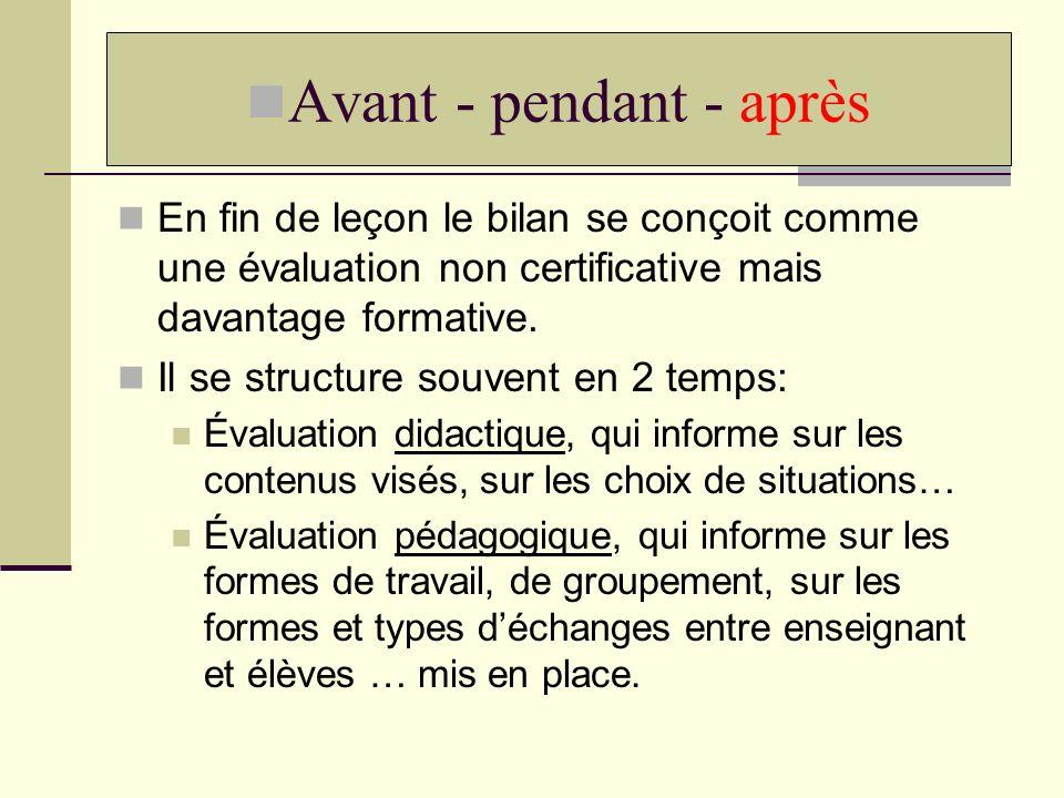 En fin de leçon le bilan se conçoit comme une évaluation non certificative mais davantage formative. Il se structure souvent en 2 temps: Évaluation di