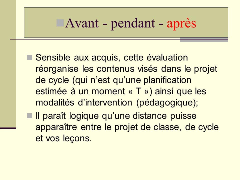 Sensible aux acquis, cette évaluation réorganise les contenus visés dans le projet de cycle (qui nest quune planification estimée à un moment « T ») a