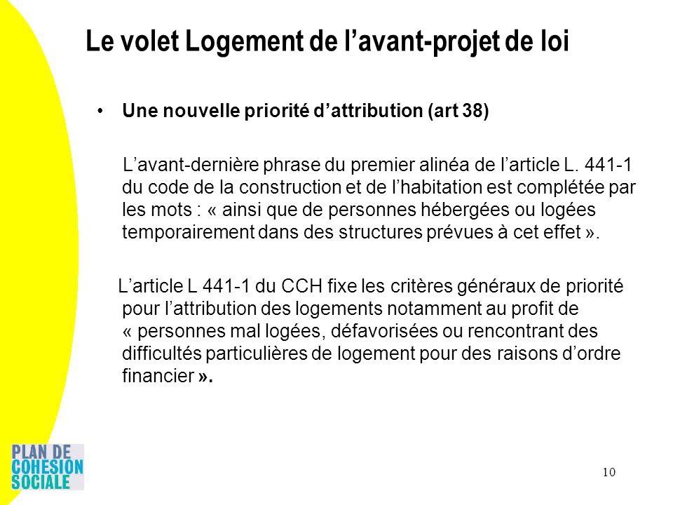 10 Une nouvelle priorité dattribution (art 38) Lavant-dernière phrase du premier alinéa de larticle L. 441-1 du code de la construction et de lhabitat