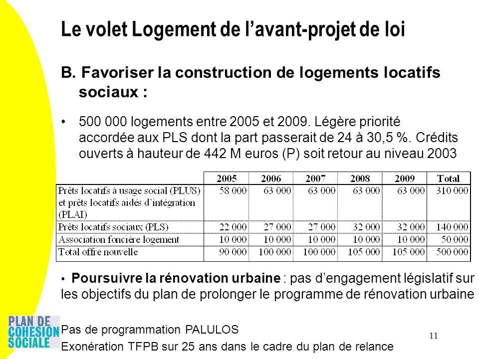 11 B. Favoriser la construction de logements locatifs sociaux : 500 000 logements entre 2005 et 2009. Légère priorité accordée aux PLS dont la part pa