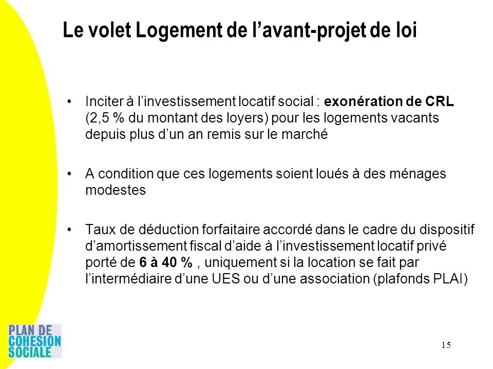 15 Inciter à linvestissement locatif social : exonération de CRL (2,5 % du montant des loyers) pour les logements vacants depuis plus dun an remis sur