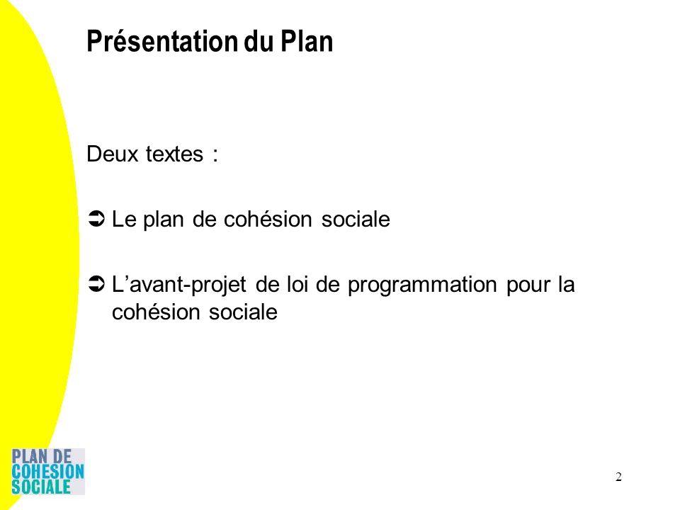 2 Présentation du Plan Deux textes : Le plan de cohésion sociale Lavant-projet de loi de programmation pour la cohésion sociale