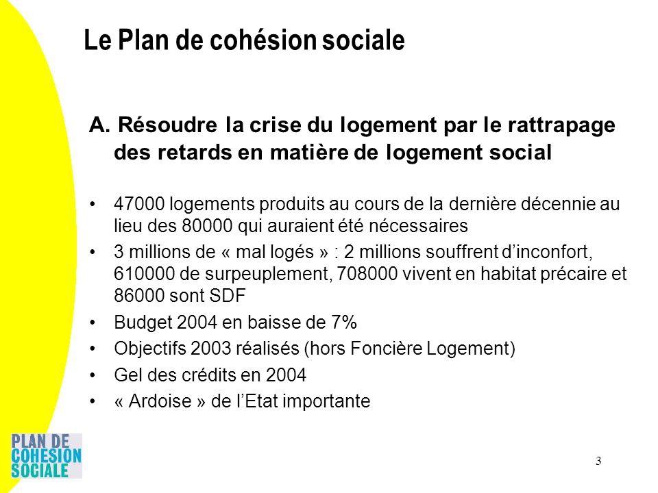 3 A. Résoudre la crise du logement par le rattrapage des retards en matière de logement social 47000 logements produits au cours de la dernière décenn