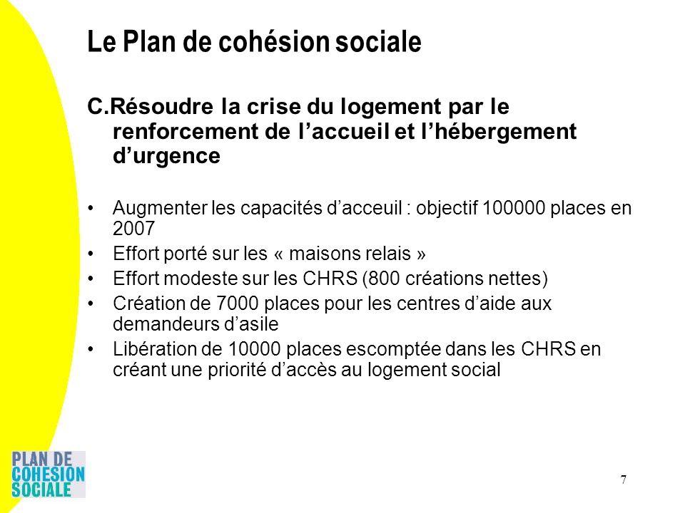 7 C.Résoudre la crise du logement par le renforcement de laccueil et lhébergement durgence Augmenter les capacités dacceuil : objectif 100000 places e