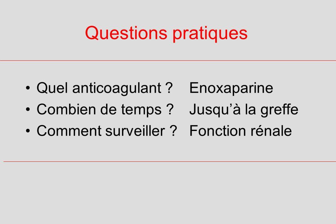 Questions pratiques Quel anticoagulant .Enoxaparine Combien de temps .