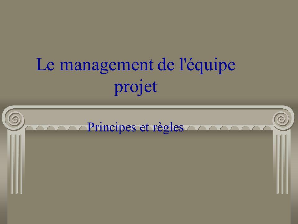 Le management de l'équipe projet Principes et règles
