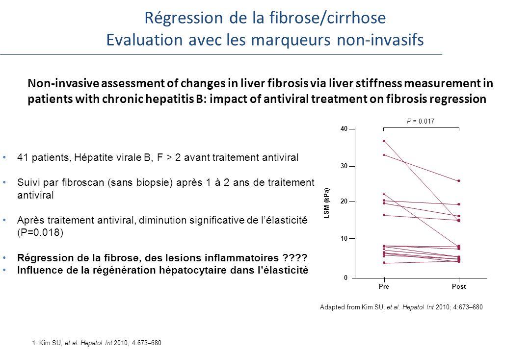 Régression de la fibrose/cirrhose Evaluation avec les marqueurs non-invasifs Non-invasive assessment of changes in liver fibrosis via liver stiffness