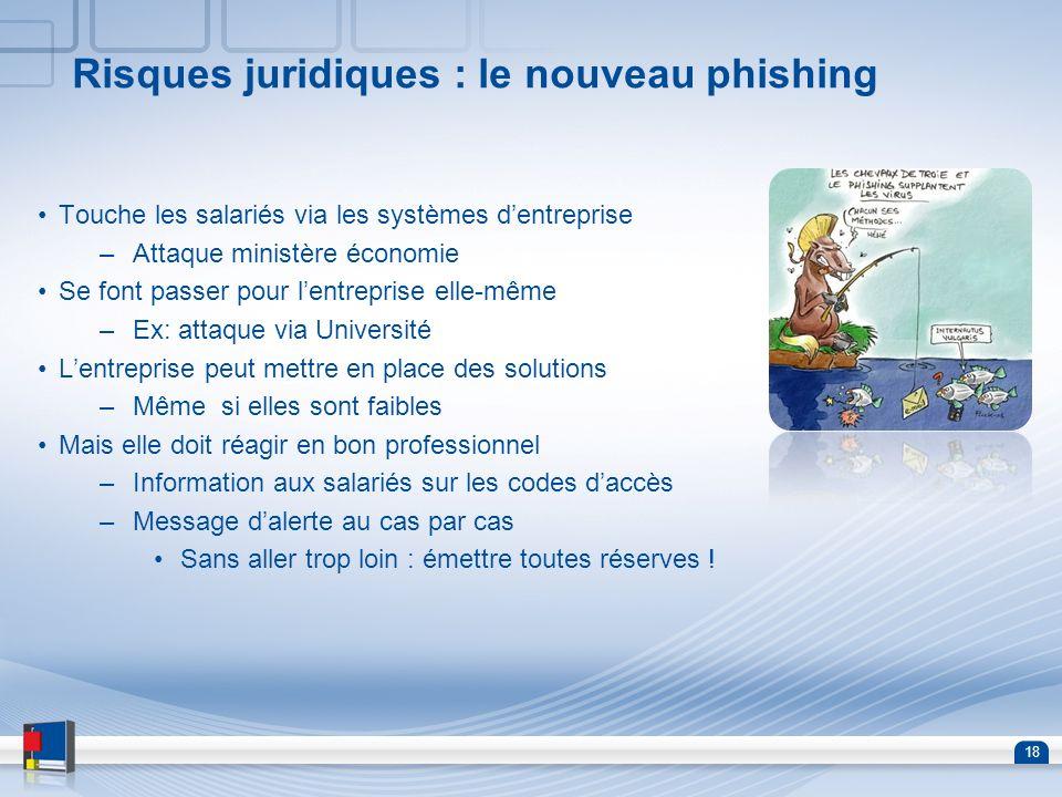 18 Risques juridiques : le nouveau phishing Touche les salariés via les systèmes dentreprise –Attaque ministère économie Se font passer pour lentrepri
