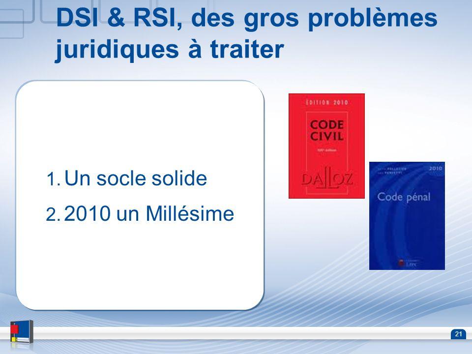 21 DSI & RSI, des gros problèmes juridiques à traiter 1. Un socle solide 2. 2010 un Millésime