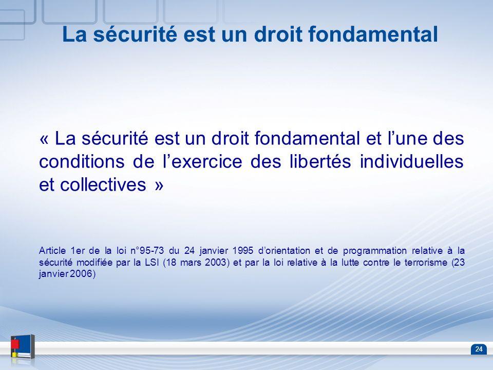 24 La sécurité est un droit fondamental « La sécurité est un droit fondamental et lune des conditions de lexercice des libertés individuelles et colle