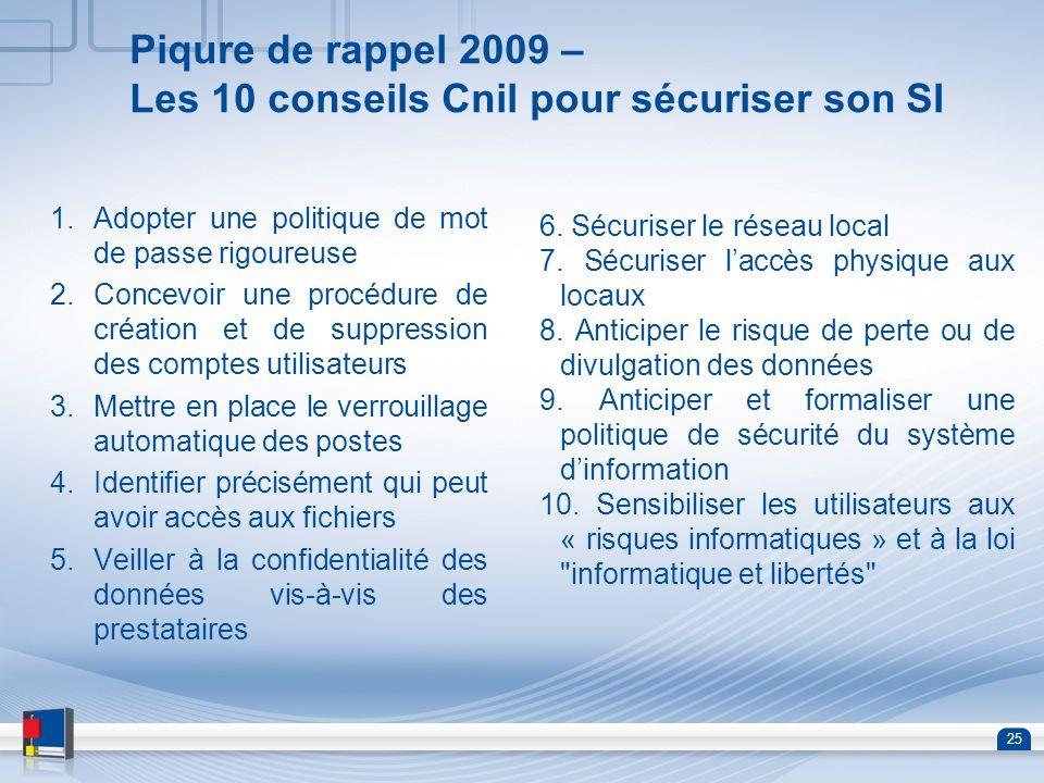 25 Piqure de rappel 2009 – Les 10 conseils Cnil pour sécuriser son SI 1.Adopter une politique de mot de passe rigoureuse 2.Concevoir une procédure de