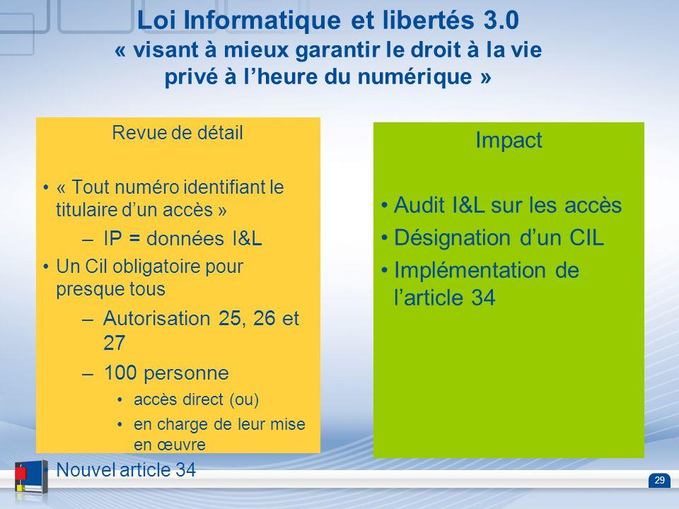 29 Loi Informatique et libertés 3.0 « visant à mieux garantir le droit à la vie privé à lheure du numérique » Revue de détail « Tout numéro identifian