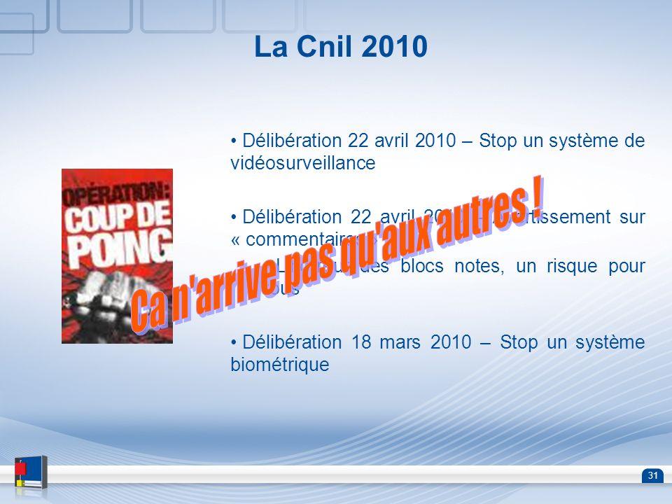 31 La Cnil 2010 Délibération 22 avril 2010 – Stop un système de vidéosurveillance Délibération 22 avril 2010 – Avertissement sur « commentaires » Lhor