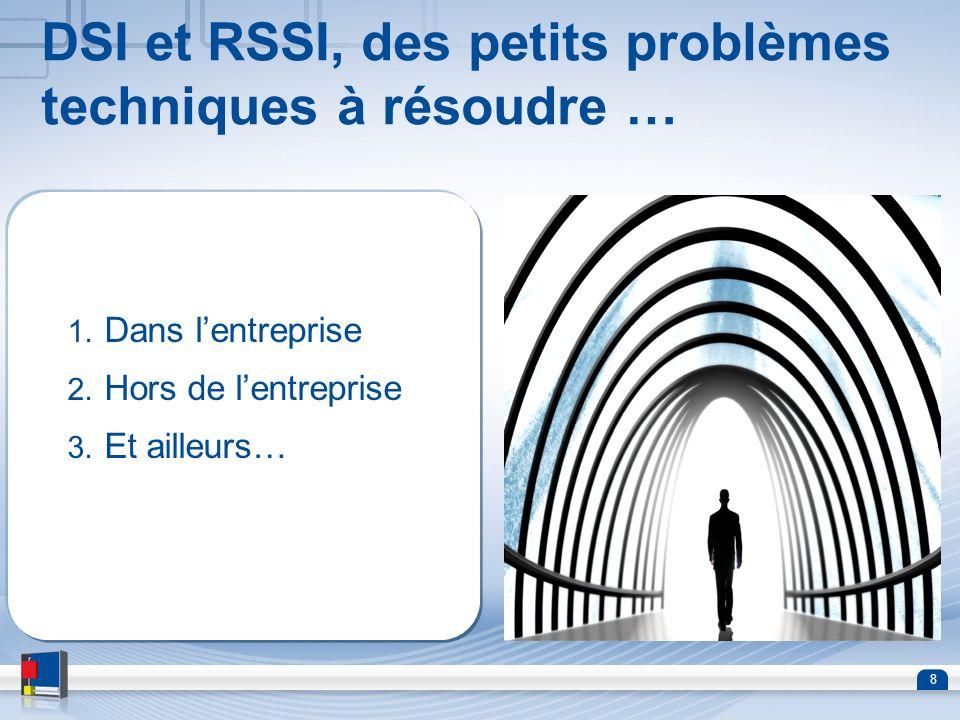 8 DSI et RSSI, des petits problèmes techniques à résoudre … 1. Dans lentreprise 2. Hors de lentreprise 3. Et ailleurs…