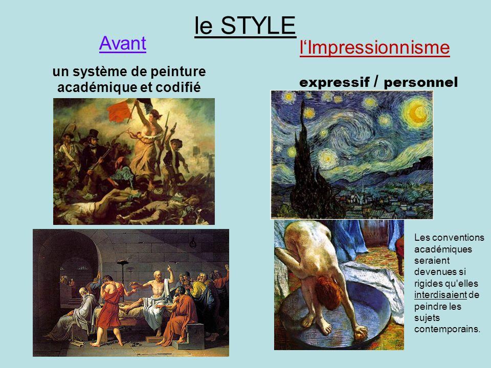 le STYLE un système de peinture académique et codifié expressif / personnel Avant lImpressionnisme Les conventions académiques seraient devenues si ri