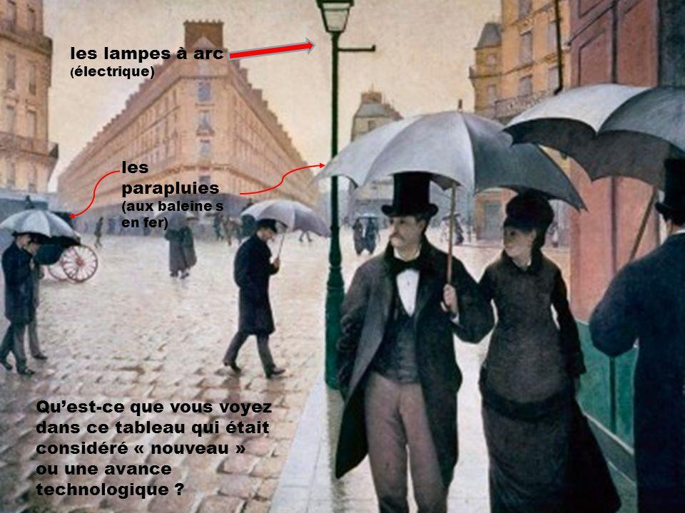 Quest-ce que vous voyez dans ce tableau qui était considéré « nouveau » ou une avance technologique ? les parapluies (aux baleine s en fer) les lampes