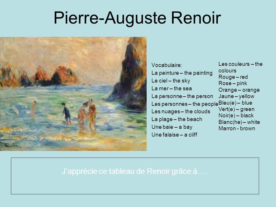 Pierre-Auguste Renoir Vocabulaire: La peinture – the painting Le ciel – the sky La mer – the sea La personne – the person Les personnes – the people L