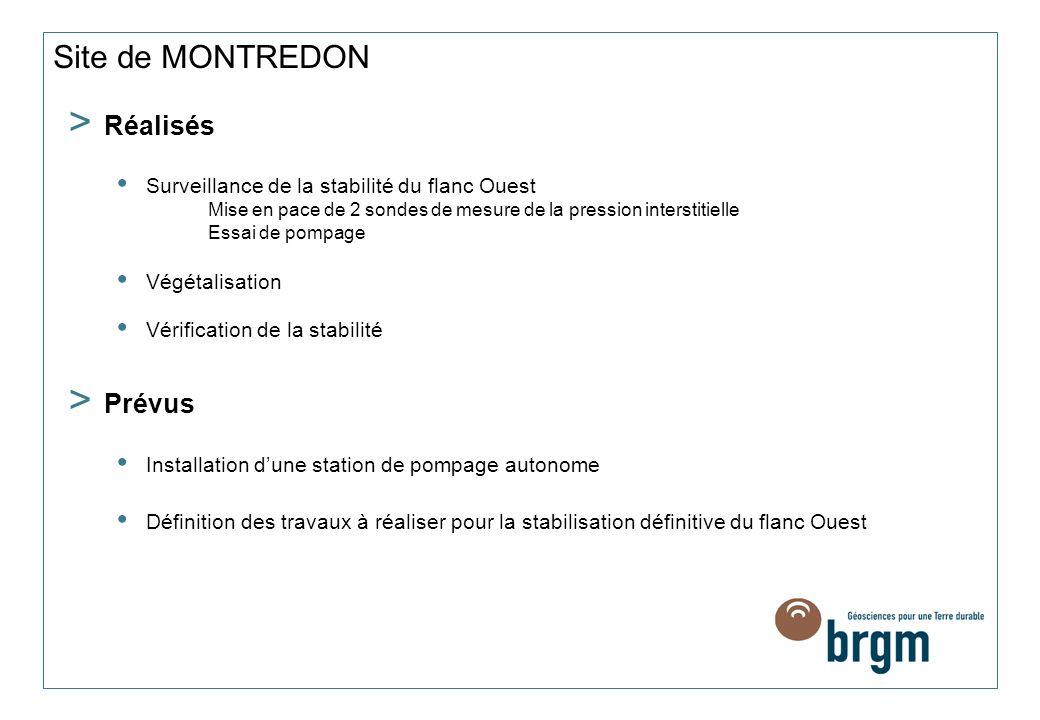 Site de MONTREDON > Réalisés Surveillance de la stabilité du flanc Ouest Mise en pace de 2 sondes de mesure de la pression interstitielle Essai de pom