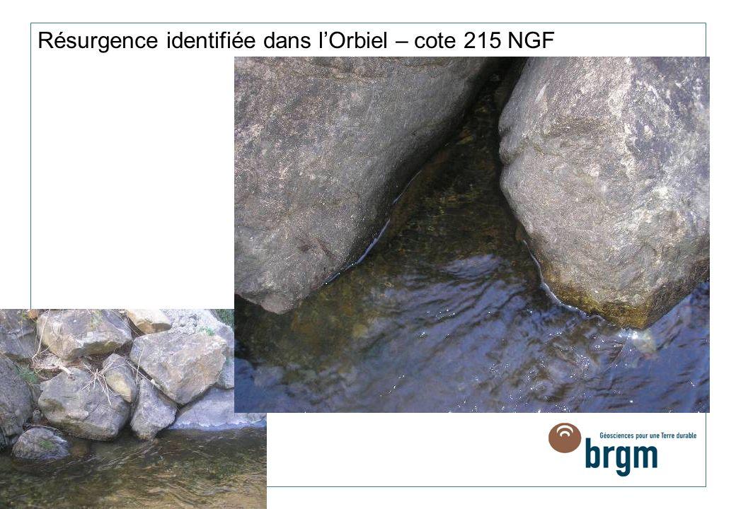 Résurgence identifiée dans lOrbiel – cote 215 NGF