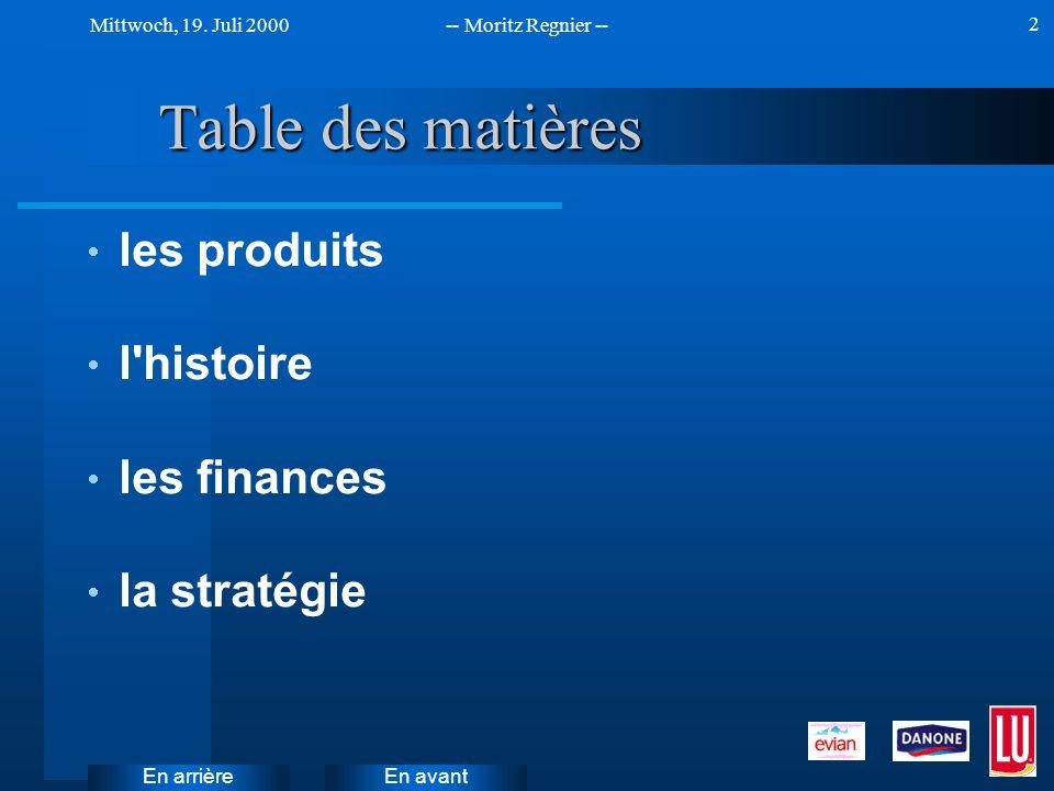En avant Mittwoch, 19. Juli 2000-- Moritz Regnier -- En arrière 2 Table des matières les produits l'histoire les finances la stratégie