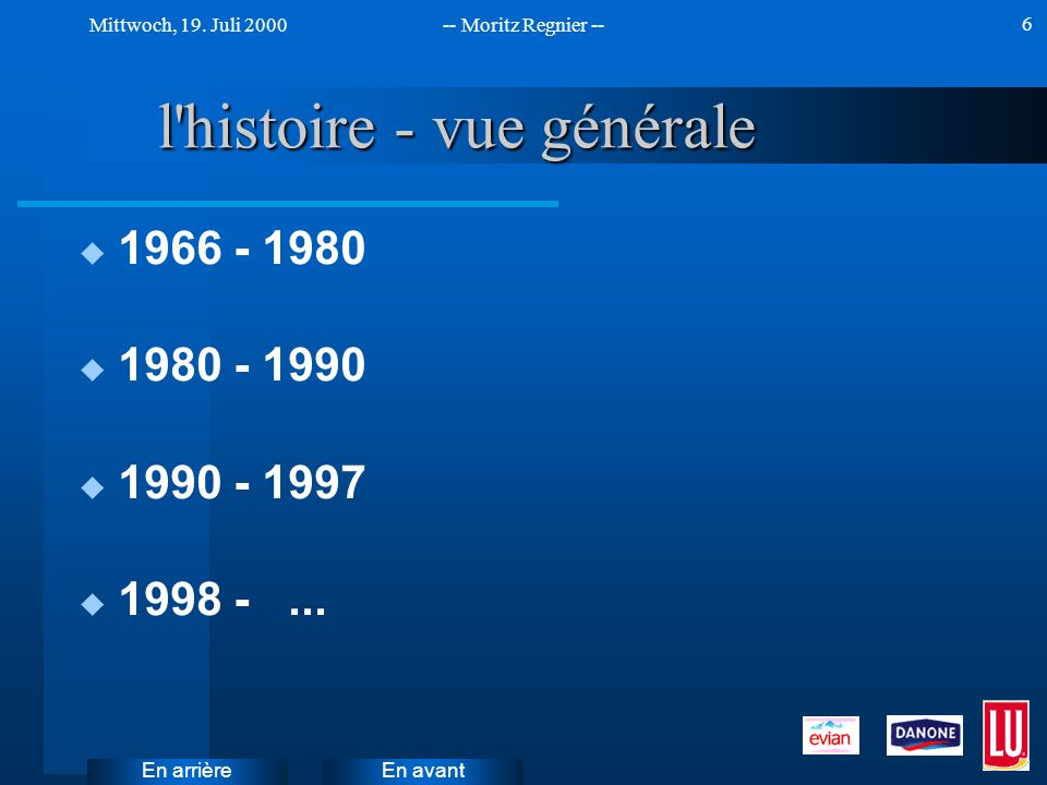 En avant Mittwoch, 19. Juli 2000-- Moritz Regnier -- En arrière 6 l'histoire - vue générale u 1966 - 1980 u 1980 - 1990 u 1990 - 1997 u 1998 -...