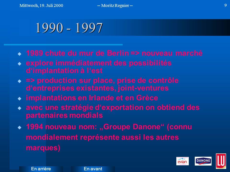 En avant Mittwoch, 19. Juli 2000-- Moritz Regnier -- En arrière 9 1990 - 1997 u 1989 chute du mur de Berlin => nouveau marché u explore immédiatement