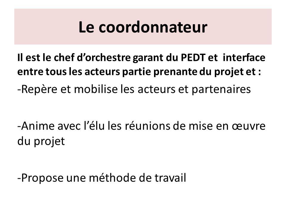 Le coordonnateur Il est le chef dorchestre garant du PEDT et interface entre tous les acteurs partie prenante du projet et : -Repère et mobilise les a