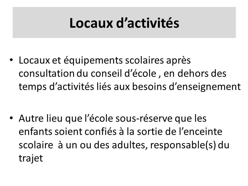 Locaux dactivités Locaux et équipements scolaires après consultation du conseil décole, en dehors des temps dactivités liés aux besoins denseignement