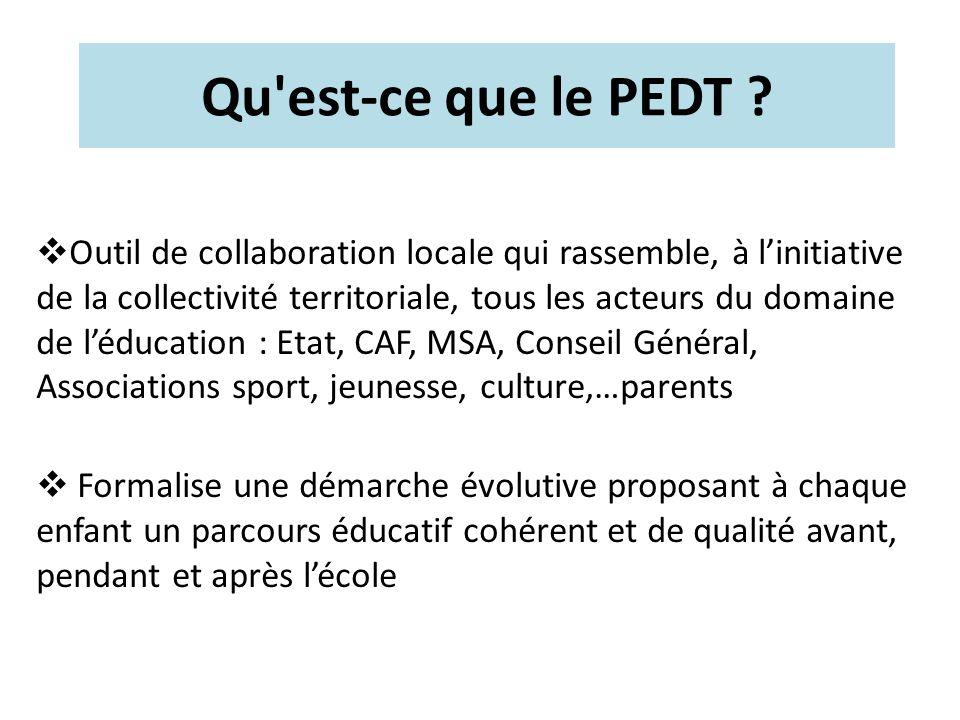 Qu'est-ce que le PEDT ? Outil de collaboration locale qui rassemble, à linitiative de la collectivité territoriale, tous les acteurs du domaine de léd
