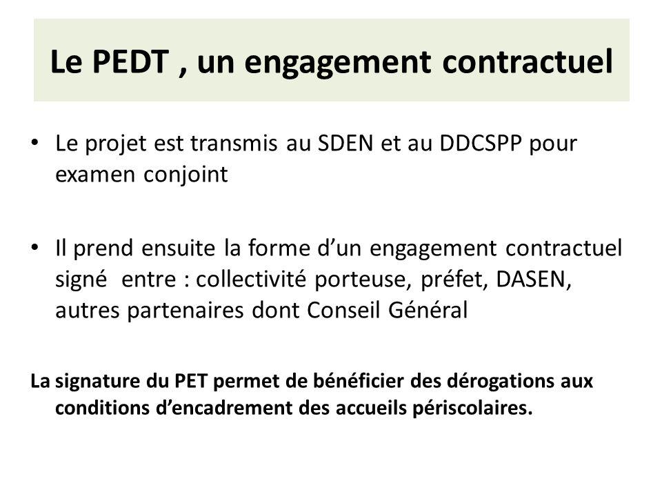 Le PEDT, un engagement contractuel Le projet est transmis au SDEN et au DDCSPP pour examen conjoint Il prend ensuite la forme dun engagement contractu