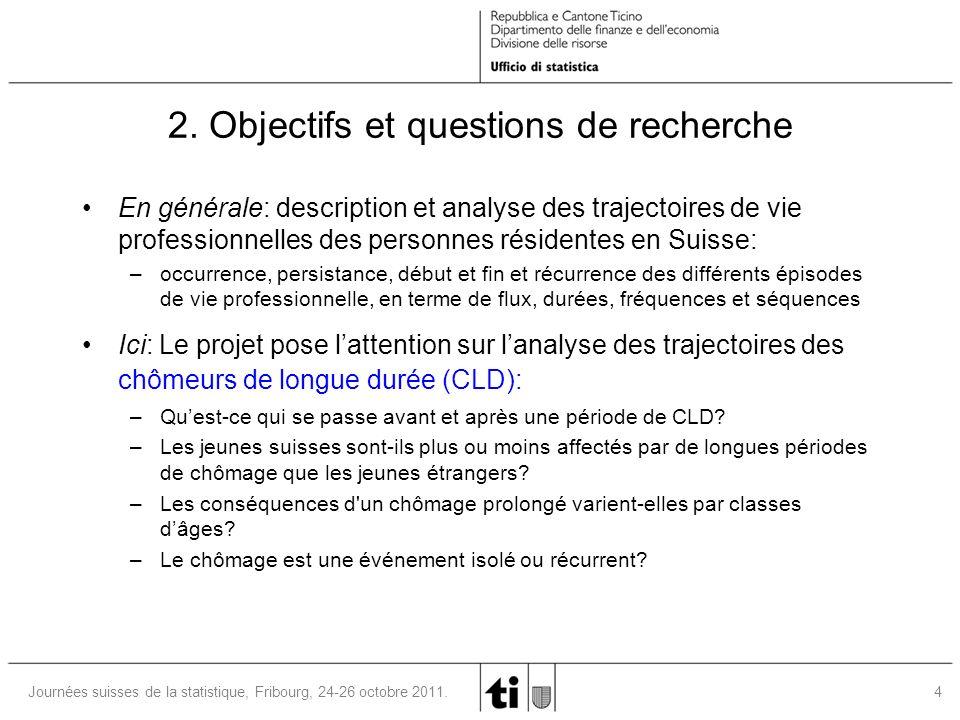 5Journées suisses de la statistique, Fribourg, 24-26 octobre 2011.