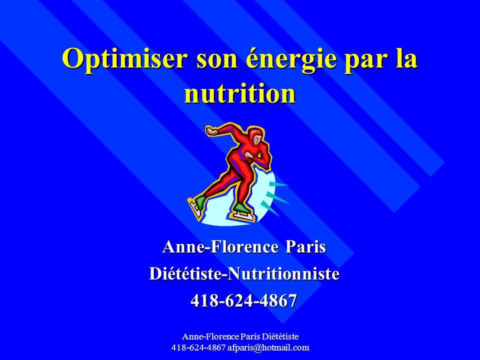 Anne-Florence Paris Diététiste 418-624-4867 afparis@hotmail.com L alimentation après un entraînement n Refaire son énergie musculaire -ingérer des glucides dès que possible dans les 15 minutes -80% de l énergie musculaire refait après 4 heures -1 à 1.5 g de glucides par kg de poids -accompagner de protéines environ 10 g ou 0,2 à 0,4 g de protéines par kg de poids ou 0,2 à 0,4 g de protéines par kg de poids